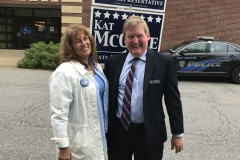Having a laugh with Lee Nyquist at the New Boston polls.